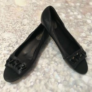 Cole Haan Nike Air Beaded Peep Toe Leather Flats
